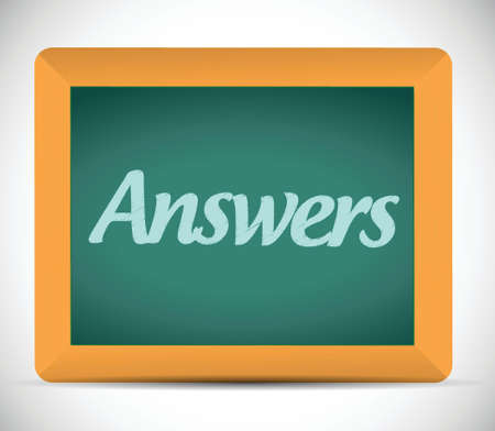 answers written on a chalkboard. illustration design over a white background