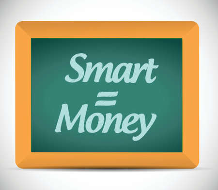 enterprising: smart equals money written on a chalkboard. illustration design over a white background Illustration