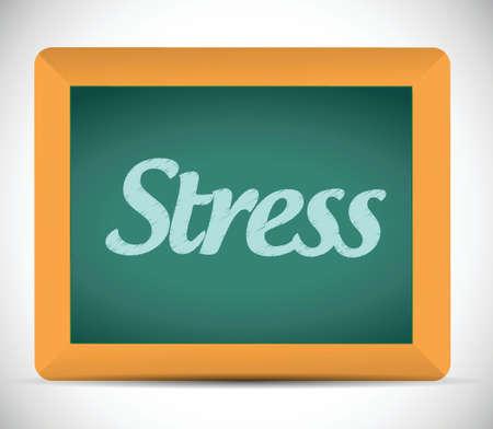 burn out: stress-woord geschreven op een schoolbord. illustratie ontwerp op een witte achtergrond Stock Illustratie
