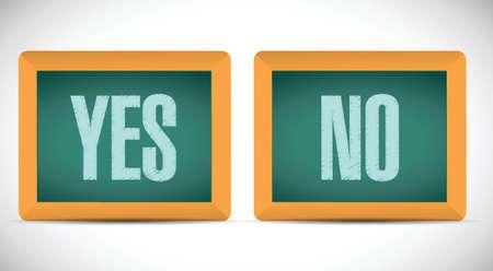 ja en geen woorden geschreven op een schoolbord. illustratie ontwerp op een witte achtergrond Stock Illustratie