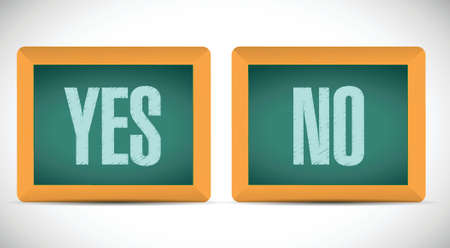 yes no: yes and no words written on a chalkboard. illustration design over a white background