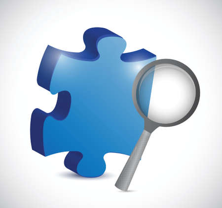 puzzle and magnify glass illustration design over a white background Vector
