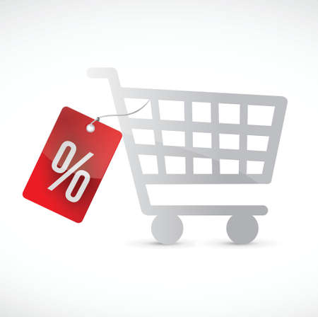 shopping cart and percentage tag. illustration design over a white background Vector