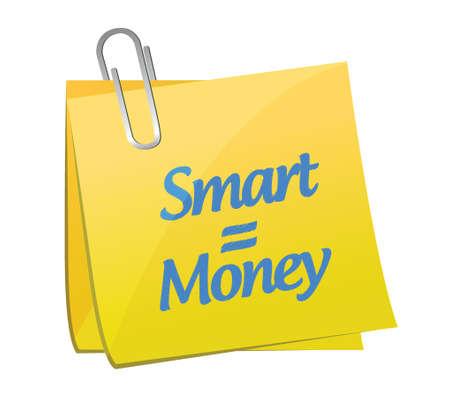 smart equals money post message illustration design over a white background