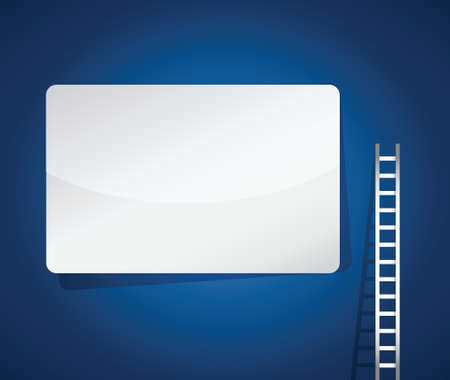ladder and blank sign illustration design over a blue background Vector