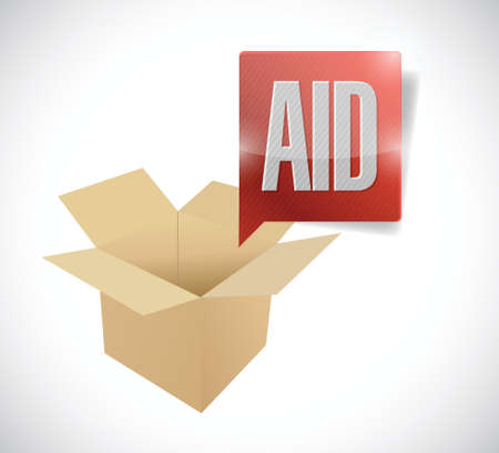 disaster relief: box aid illustration design over a white background