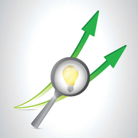 magnify lightbulb and arrows. illustration design over a white background Vector