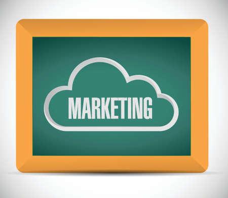 marketing cloud sign on a blackboard. illustration design over a white background 일러스트