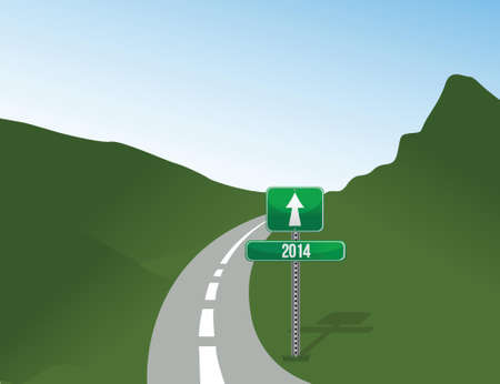 road sign to 2014. illustration design over landscape background Vector