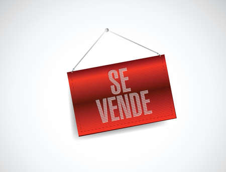 sell house: for sale spanish hanging sign. illustration design over a white background