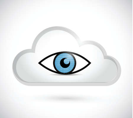 cloud computing surveillance illustration design over a white background Çizim