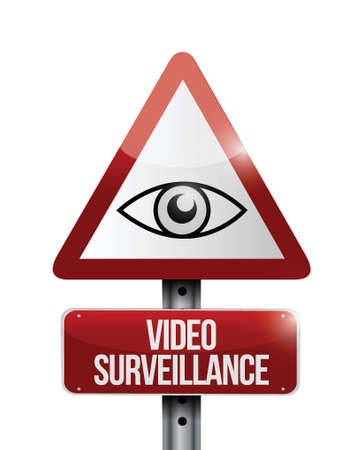security monitor: video surveillance sign illustration design over a white background