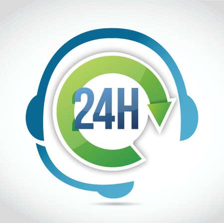 24 hours customer support illustration design over a white background Vector