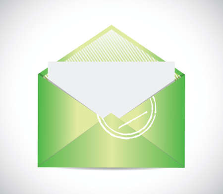 sealable: green envelope email illustration design over a white background