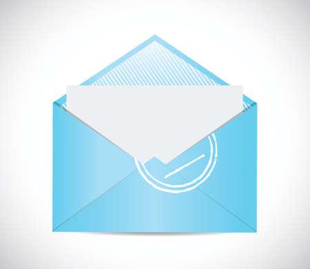 sealable: blue envelope email illustration design over a white background