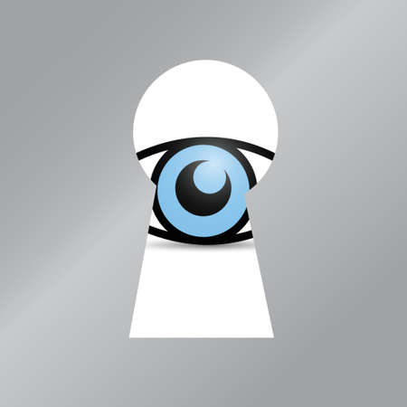 big brother spy: eye behind a key hole. illustration design over a white background Illustration