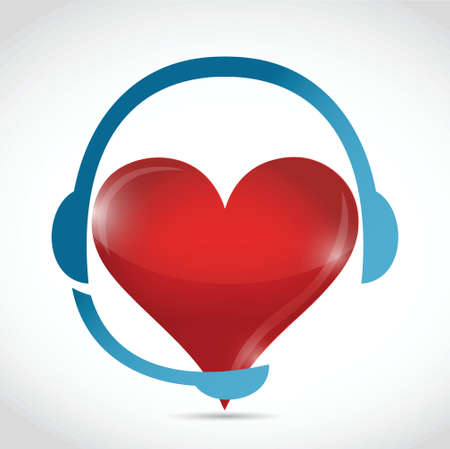 headphones and heart. illustration design over a white background Vector