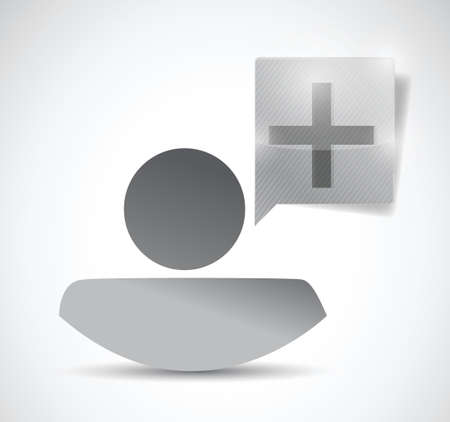plus message bubble and avatar. illustration design over a white background