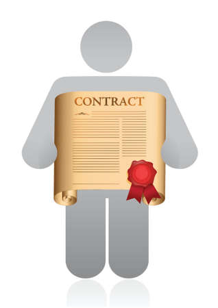 concluding: icon holding a contract illustration design over a white background Illustration