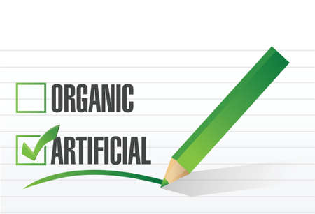 artificial over organic check mark illustration design over a white background Vector