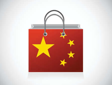 china flag shopping bag illustration design over a white background Illustration