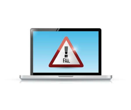 unaccepted: fail sign on a laptop. illustration design over a white background Illustration