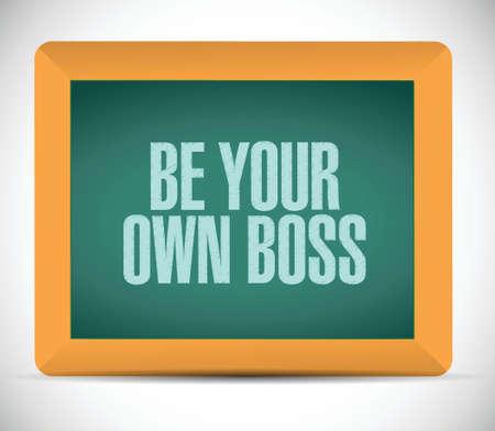 emprendimiento: ser tu propio dise�o ilustraci�n mensaje jefe sobre un fondo blanco