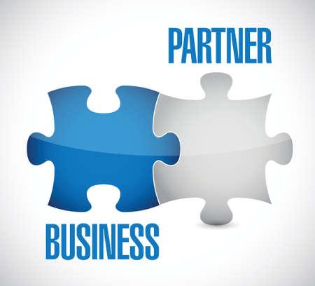 business partner puzzle illustration design over a white background