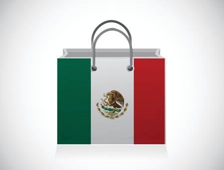mexican flag: messico. shopping bag mexican bandiera illustrazione disegno su uno sfondo bianco Vettoriali
