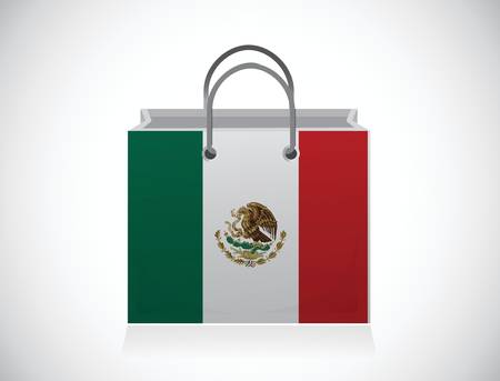 mexico. mexican flag shopping bag illustration design over a white background Vector