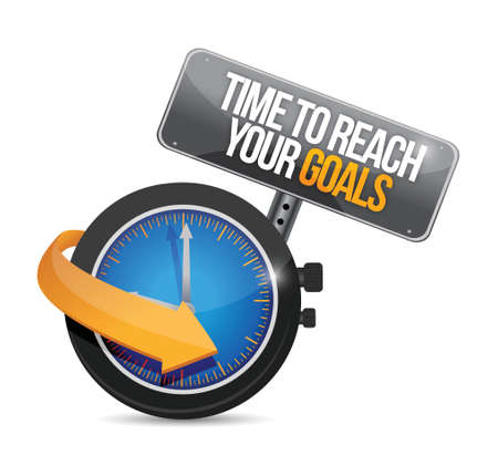 self improvement: time to reach your goals concept illustration design over a white background