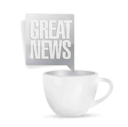 great news and coffee mug. illustration design over a white background Ilustração