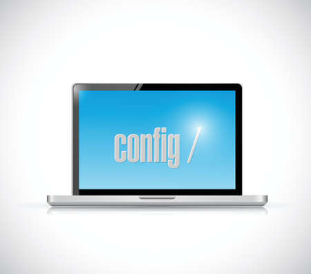 configure code on a laptop. illustration design over a white background