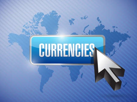 currencies button illustration design over a world map illustration