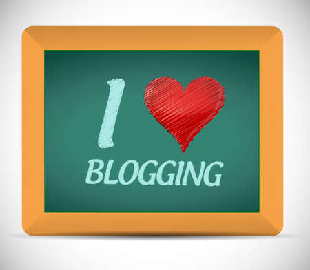 I love blogging written on a chalkboard. illustration design over a white background illustration