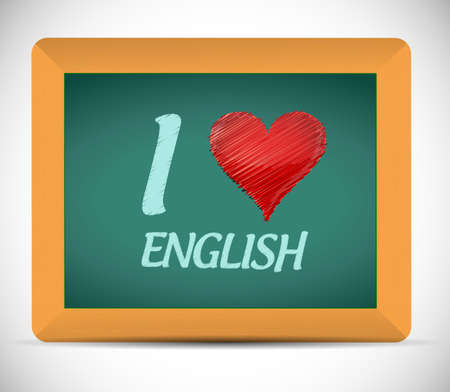 nationalities: I love english written on a chalkboard. illustration design over a white background