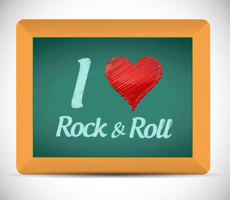 love rock and roll blackboard sign. illustration design over a white background illustration