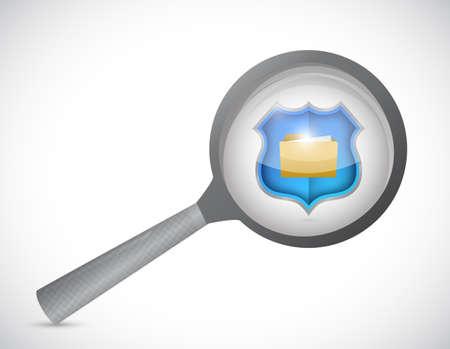 magnify glass over secure documents. illustration design over a white background illustration