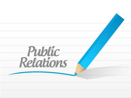 news values: public relations message illustration design over a white background