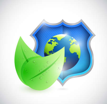 eco natural globe shield illustration design over a white background Stock Photo
