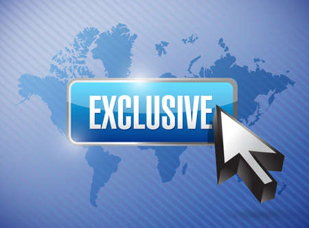 exclusive: exclusive button illustration design over a world map background