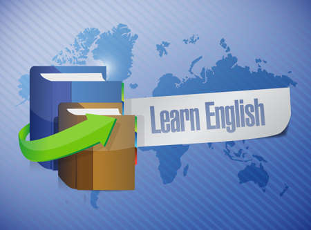 studing: learn english book sign illustration design over a world map