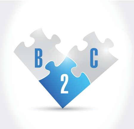 b2c puzzle pieces illustration design over a white background Illustration