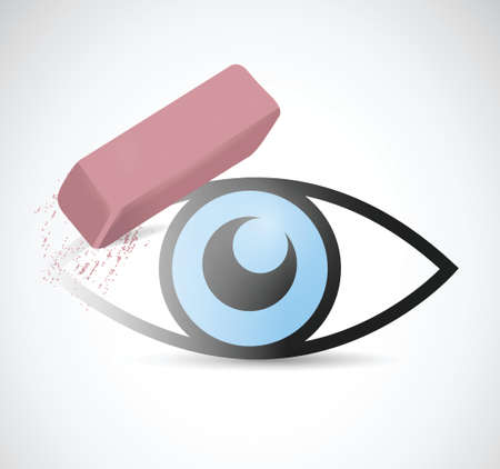 degeneration: eye being erase illustration design over a white background