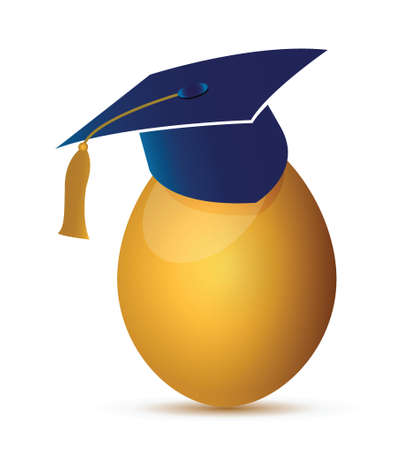 examiert: egg with an graduation hat illustration design over a white background Illustration