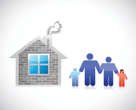 home and family. brick house illustration design over a white background