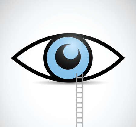 ladder to eye illustration design over a white background Vector