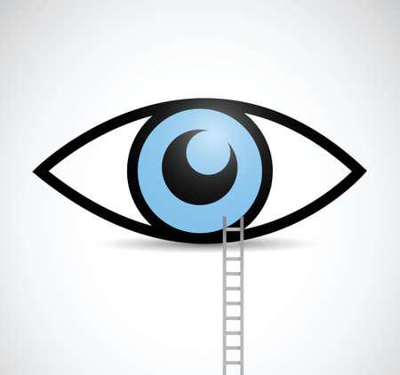 ladder to eye illustration design over a white background