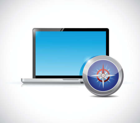 compass rose: laptop and compass illustration design over a white background Illustration