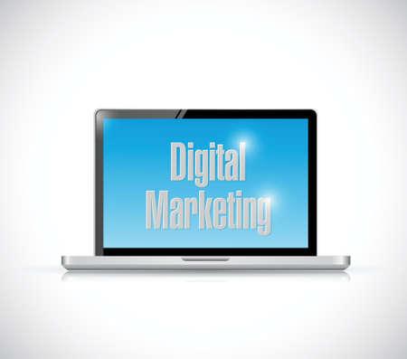 article marketing: computer digital marketing illustration design over a white background
